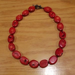 Red Turquoise Oval Statement Necklace